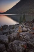 Sunset Mountain Lake With Rocks And Lonely Pines On Foreground, Altai Mountains Highland Nature Autumn Landscape Photo