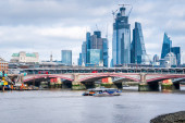 Tall Buildings in City of London Financial District and the Blackfriars Bridge Crossing Thames River
