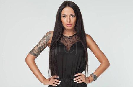 Fashion model with long straight hair. Fashion mod...