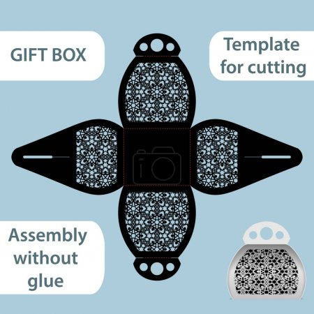 Openwork gift paper box with a handle, lace pattern, assembly without glue, cut out template, packaging for retail, greeting packaging, laser cutting template, presents packing,