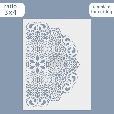 Laser cut wedding invitation card template.  Cut out the paper card with lace pattern.  Greeting card template for cutting plotter. Congratulation to Christmas or New Year