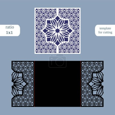 Laser cut christmas square card template. Cut out the paper card with lace pattern and a snowflake.  Greeting card template for cutting plotter. Congratulation to Christmas or New Year.