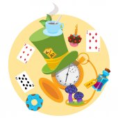 Illustration to the fairy tale Alice's Adventures in Wonderland Green hat playing cards pocket watch the elixir mushrooms