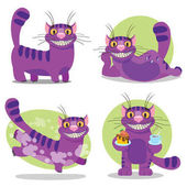 Cheshire Cat Illustration to the fairy tale Alice's Adventures in Wonderland Purple cat with a big smile
