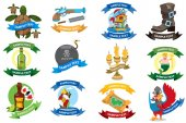 Set on a pirate theme icons Logos with a banner for text with a picture of marine life and pirate goods Stickers for design theme parties and children's products