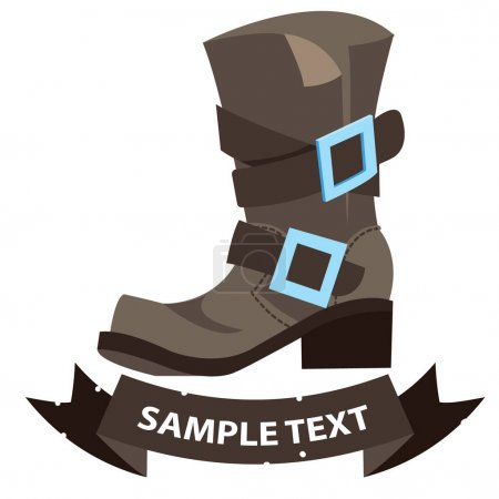 Old men's boots with ribbon banner. Cartoon drawing for gaming mobile applications.