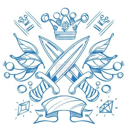 Illustration pour Croquis de tatouage avec des couronnes et des couteaux. Illustration de contour pour la coloration. Dessin sur des thèmes Ganster pour concevoir des T-shirts, des cartes à jouer, des soirées à thème . - image libre de droit