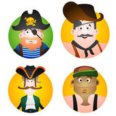 Set of four round of avatars with a pictures of pirates Cartoon illustration for gaming mobile applications and for design t-shirts and other items