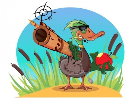 Cartoon duck with gun