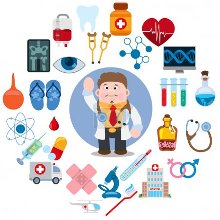 Illustration for Diffrent icons related to hospital. Hospital icons set - Royalty Free Image