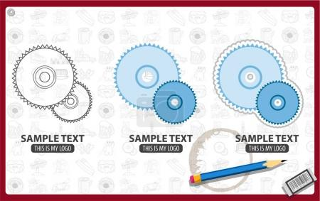Circular saw blade logos set