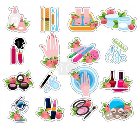 Illustration for Icons beauty salon, spa, nail service, stroke icons - Royalty Free Image