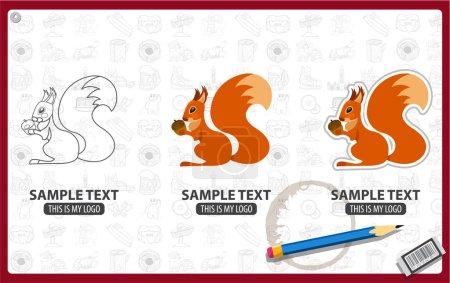 Squirrel logos set