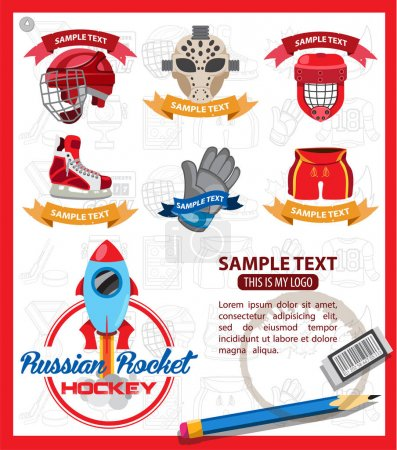 Ice hockey logos with ribbon