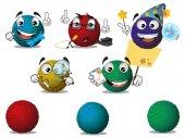 Cartoon character knitting ball vector illustration of knitting ball