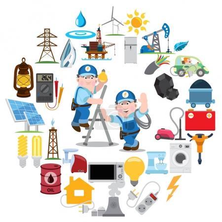 Illustration pour Icônes web énergétiques ou éléments d'infographie - image libre de droit