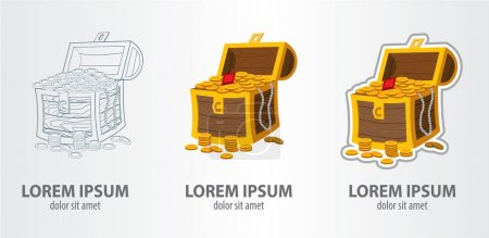 Treasure chest logos set