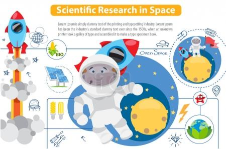 Illustration for Scientific Research in Space, infographics on white background - Royalty Free Image