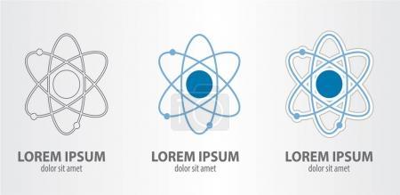 Illustration for Atom logos set on grey gradient background - Royalty Free Image