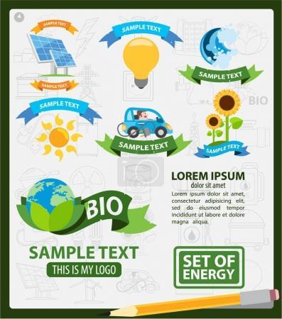 Illustration for Energetics logos, energetics infographics, set of icons - Royalty Free Image