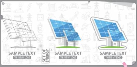 Solar battery logos set