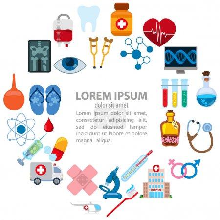 Illustration pour Des choses liées à l'hôpital. Ensemble d'icônes d'hôpital - image libre de droit