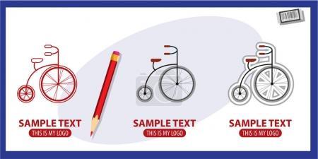 Bicycle retro logos set