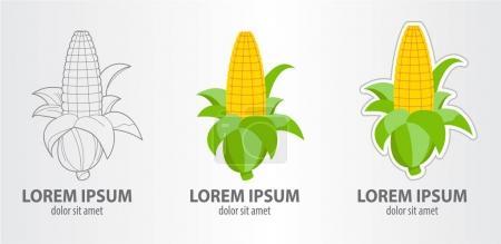 Corn logos set