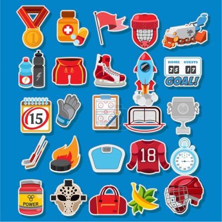 Ice hockey icons set