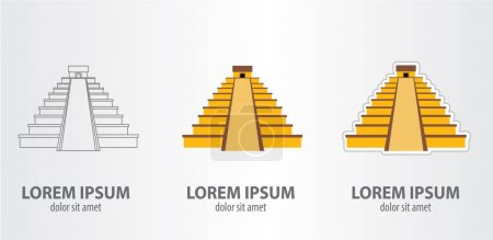 Mayan pyramid logos set