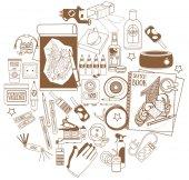 Tattoo studio tools icons round composition of tattoo studio icons