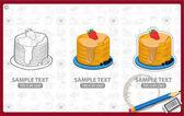 Pancake logos set on grey background with text