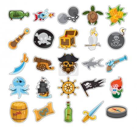 Pirate stroke icons set