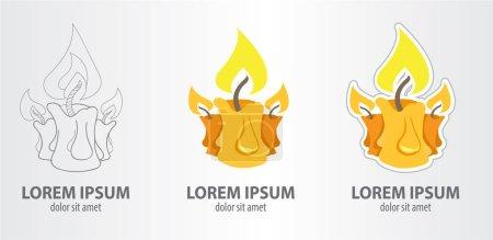 Candle logos set