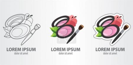 Face powder logos set
