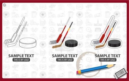 Hockey sticks and puck logo