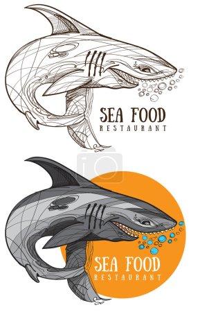 Illustration for Sea food restaurant logo with shark - Royalty Free Image