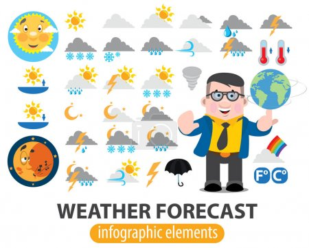 Illustration for Weather forecast infographics elements, TV weather news reporter at work, TV weather prediction forecast male news reporter - Royalty Free Image