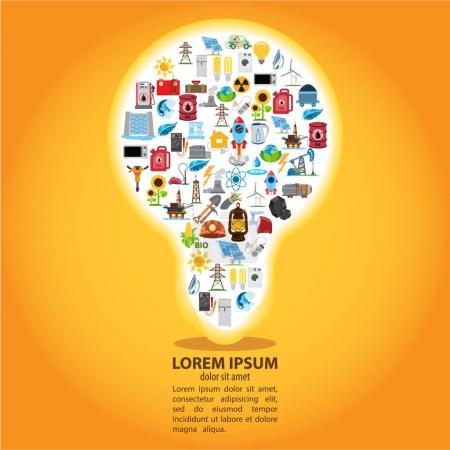 Illustration pour L'infographie de l'énergie, modèle infographique moderne, ampoule créative avec icônes - image libre de droit