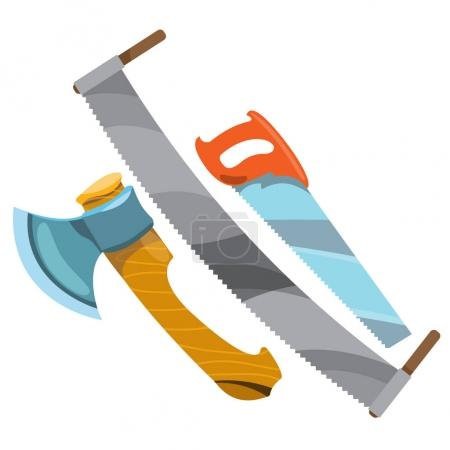 Illustration for Saws and axes icon vector illustration - Royalty Free Image
