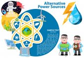 Alternative energy icons and characters