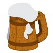 Wooden mug of beer foam
