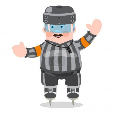 Hockey referee in a cartoon style.