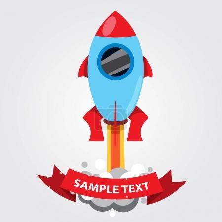 Colorful cartoon rocket flies into space icon.
