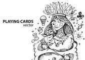"Постер, картина, фотообои ""Queen of clubs playing card suit. """