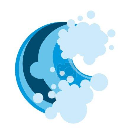 Wave with foam, surf logo.