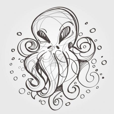 Illustration for Octopus outline sketch.vector illustration - Royalty Free Image
