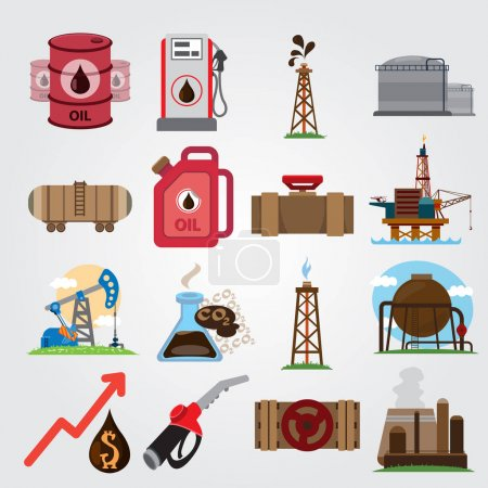 The oil industry set of logos