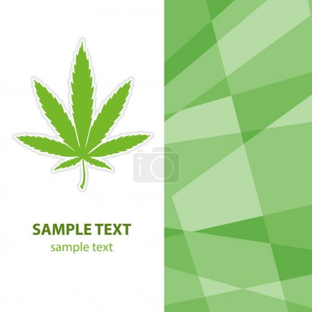 Flyer with cannabis leaf and green background