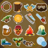 Forestry set of icons and logos